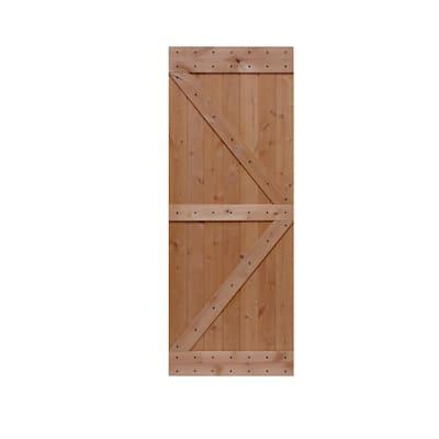 32 in. x 84 in. Ready-to-Assemble British Brace Hardwood Interior Sliding Barn Door Slab with Hardware Kit