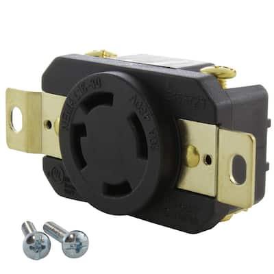 30 Amp 480-Volt 3-Phase Nema L16-30R Flush Mount Locking Industrial Grade Outlet
