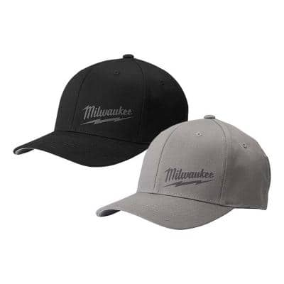 Large/Extra Large Black Fitted Hat with Large/Extra Large Gray Fitted Hat (2-Pack)