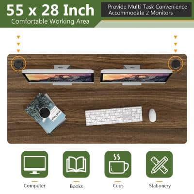 55 in. x 28 in. Frame Walnut Universal Rectangle Wood Coffee Table Tabletop for Standard and Standing Desk
