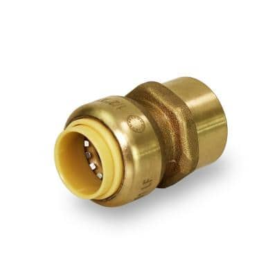 1/2 in. Brass Push to Connect Push x Female Adapter, for PEX, Copper and CPVC Piping
