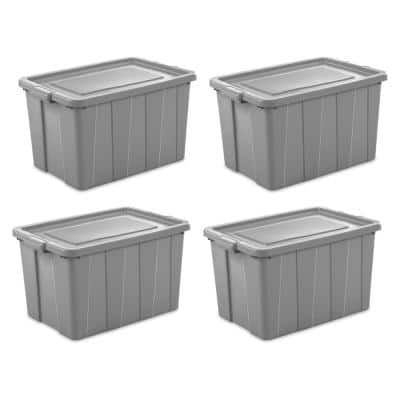 Tuff1 30 Gal. Plastic Storage Tote Container Bin with Lid (4-Pack)
