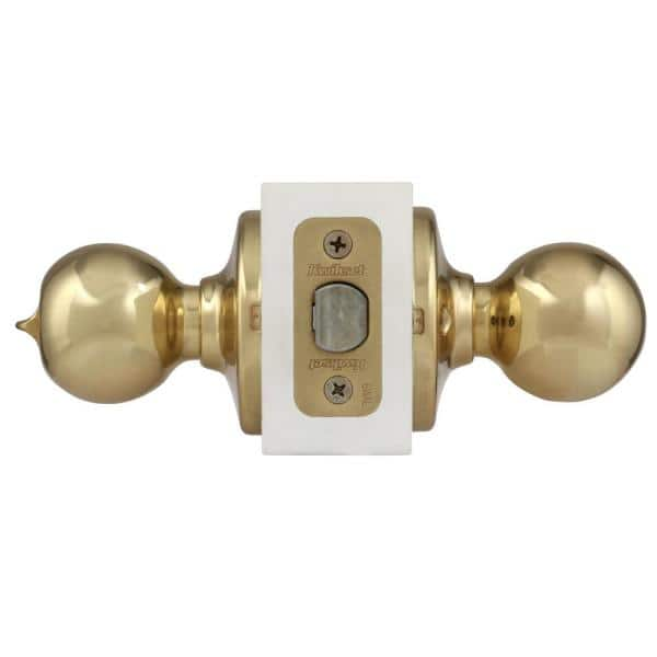 Kwikset Polo Polished Brass Privacy Bed Bath Door Knob 300p 3 6al Rcs The Home Depot