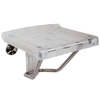 13.125 in. x 15 in. Plastic Folding Shower Seat in Chrome
