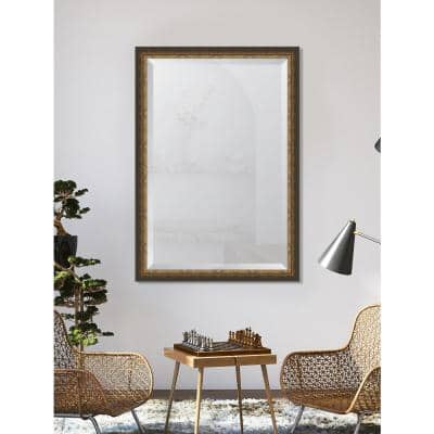 Medium Rectangle Gold Beveled Glass Contemporary Mirror (40 in. H x 28 in. W)