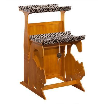 Golden Oak 2-Tier Cat Retreat Stand
