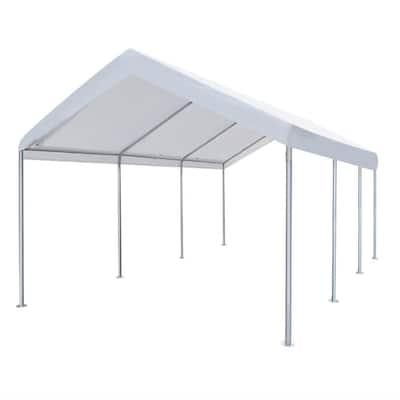 10 ft. x 20 ft. x 9.2 ft. White Roof Steel Open Carport Garage