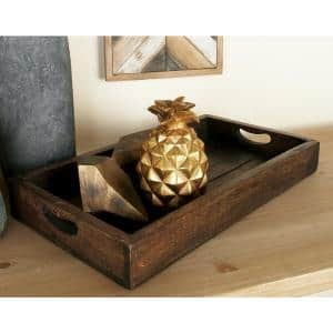 Farmhouse Mahogany-Finished Decorative Slat Trays (Set of 3)