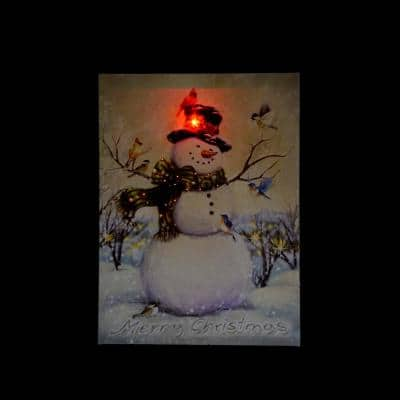 15.75 in. x 12 in. LED Lighted Vintage Inspired Snowman and Birds Christmas Canvas Wall Art