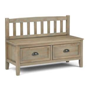 42 in. Burlington Distressed Grey Solid Wood Wide Entryway Storage Bench with Drawers
