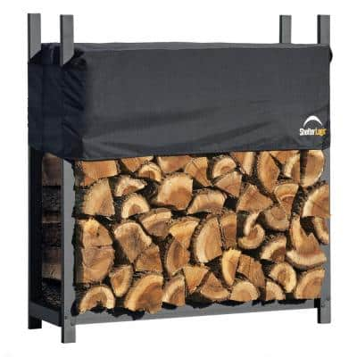 4 ft. W x 4 ft. H x 1 ft. D Ultra-Duty, High-Grade Steel Firewood Rack with Premium Wood Rack and 2-Way Adjustable Cover