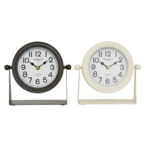 Multi Colored Metal Modern Analog Tabletop Clock (Set of 2)