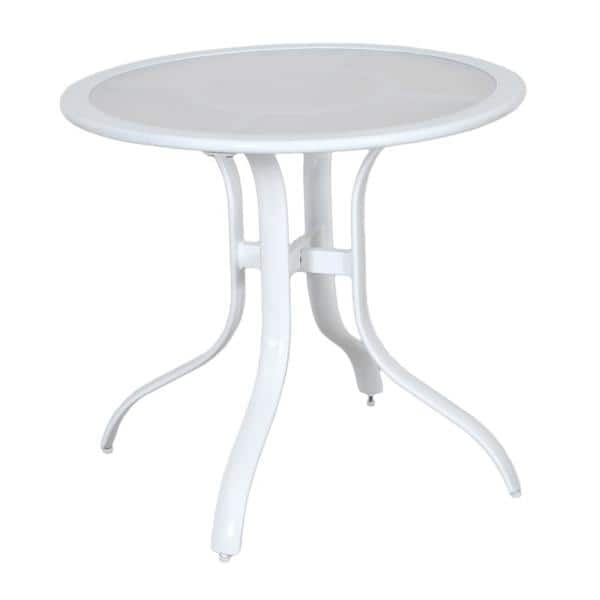 Hampton Bay 30 In Commercial Aluminum Round Outdoor Patio Acrylic Top Bistro Table In White 191a192630tacwh The Home Depot