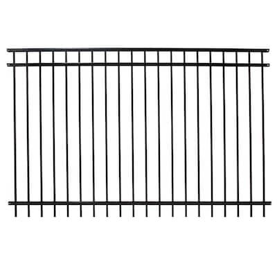 Versai 5 ft. H x 7.5 ft. W Gloss Black Steel Flat Top Design Fence Panel