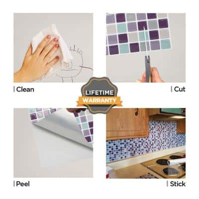 Mosaic Violetmint 10 in. W x 10 in. H Peel and Stick Self-Adhesive Decorative Mosaic Wall Tile Backsplash (10-Tiles)