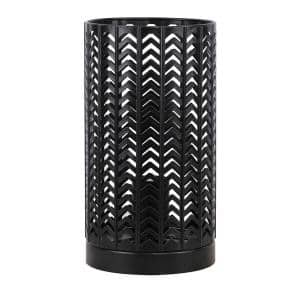 11 in. Black Metal Accent Lamp with Chevron Design