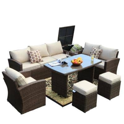 Beverly 7-Piece Steel Wicker Patio Furniture Outdoor Sectional Sofa Set with Beige Cushions and Ottomans