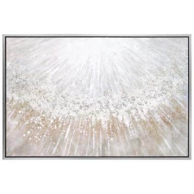 """""""Silver Pellets"""" by Martin Edwards Framed Textured Metallic Abstract Hand Painted Wall Art 32 in. x 48 in."""