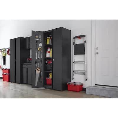 Regular Duty Welded 24-Gauge Steel Freestanding Garage Cabinet in Black (31 in. W x 75 in. H x 20 in. D)