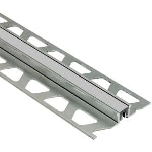 Dilex-KSN Aluminum with Classic Grey Insert 7/16 in. x 8 ft. 2-1/2 in. Metal Movement Joint Tile Edging Trim
