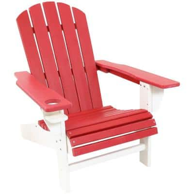 All–Weather Red/White Plastic Outdoor Adirondack Chair with Drink Holder