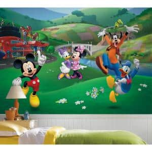 72 in. x 126 in. Mickey and Friends Roadster Racer XL Chair Rail 7-Panel Prepasted Mural