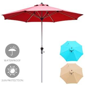 9 ft. Aluminum Market Push-Up Patio Umbrella in Burgundy