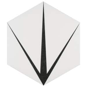 Trident Hex Blanco Encaustic 8-5/8 in. x 9-7/8 in. Porcelain Floor and Wall Tile (11.56 sq. ft. / case)