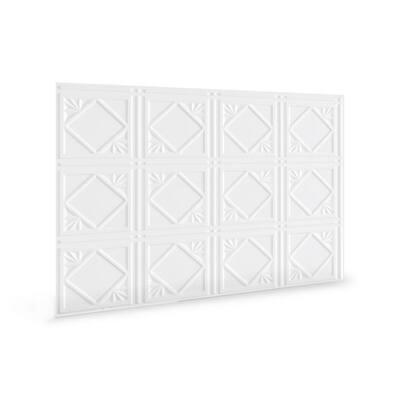 18.5'' x 24.3'' Artnouvo Decorative 3D PVC Backsplash Panels in White 6-Pieces