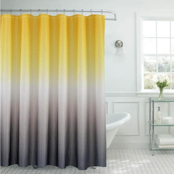 Texture Printed Shower Curtain Set, Gray White And Yellow Shower Curtains