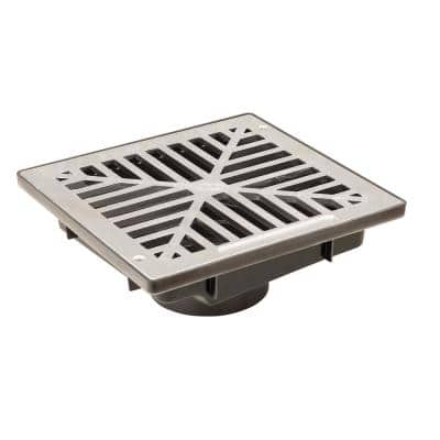 13 in. Vortex Low Profile Drainage Catch Basin with Aluminum Grate