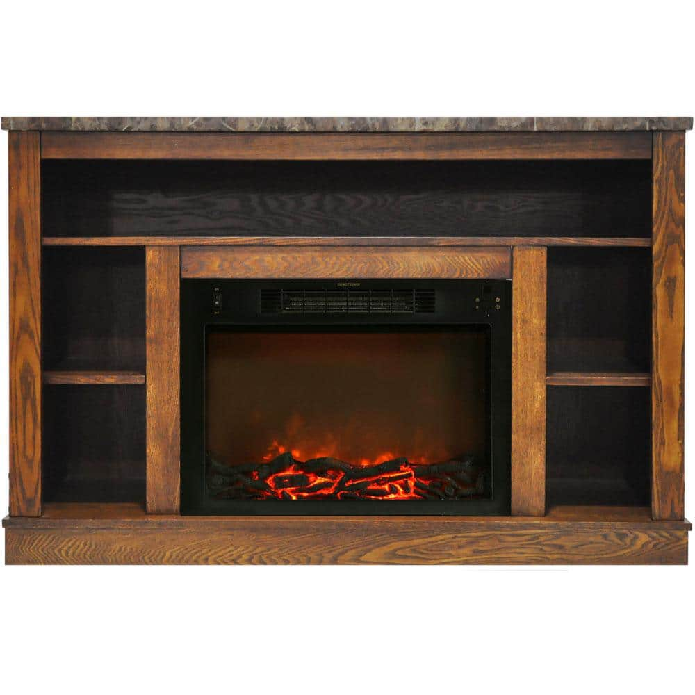 Cambridge 47 In Electric Fireplace With 1500 Watt Charred Log Insert And A V Storage Mantel In Walnut Cam5021 1wal The Home Depot