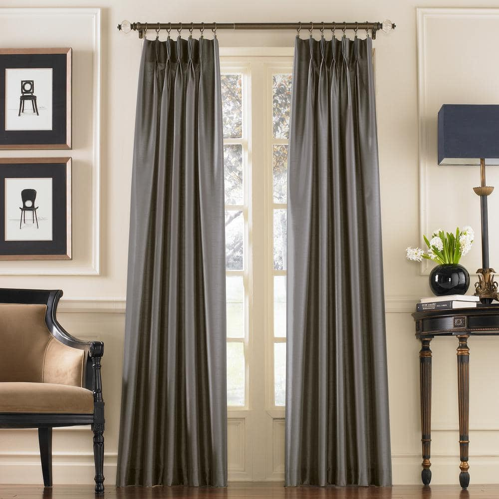 curtainworks pewter solid pinch pleat room darkening curtain 30 in w x 120 in l 1q80000cpt the home depot