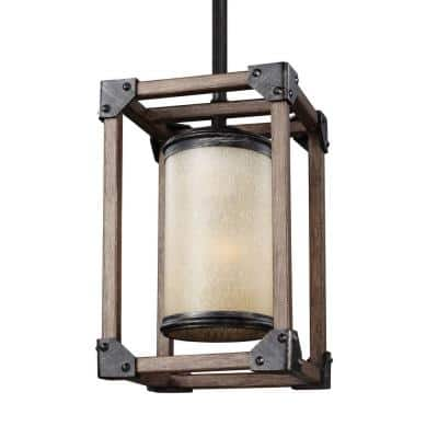 Dunning 6 in. W. 1-Light Weathered Gray and Distressed Oak Mini Pendant