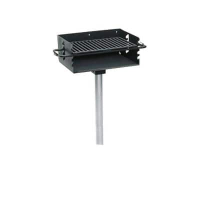3-1/2 in. Commercial Park Rotating Flipback Pedestal Charcoal Grill with Post