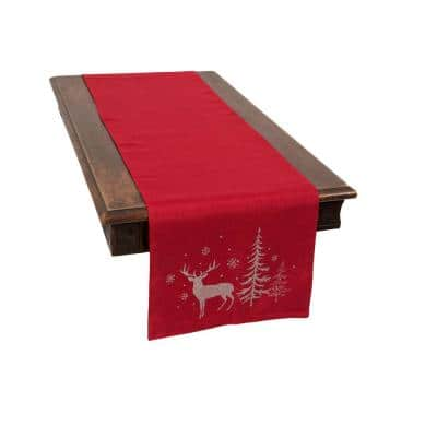 0.1 in. H x 16 in. W x 70 in. D Deer in Snowing Forest Double Layer Christmas Table Runner in Red
