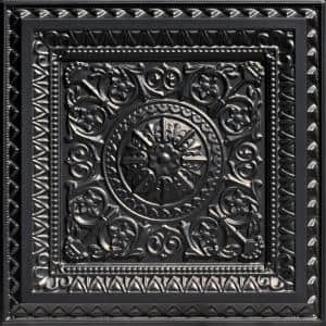 La Scala Black 2 ft. x 2 ft. PVC Glue-up or Lay-in Faux Tin Ceiling Tile (100 sq. ft./case)