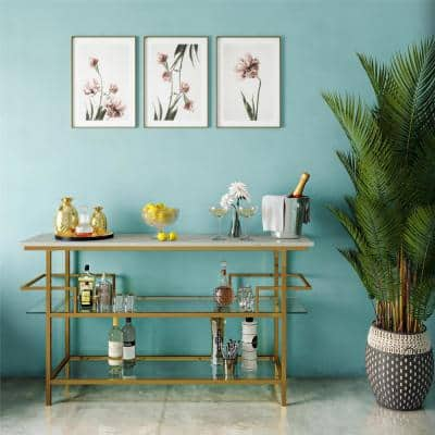 Barlow Console Unit, Faux Marble and Soft Brass