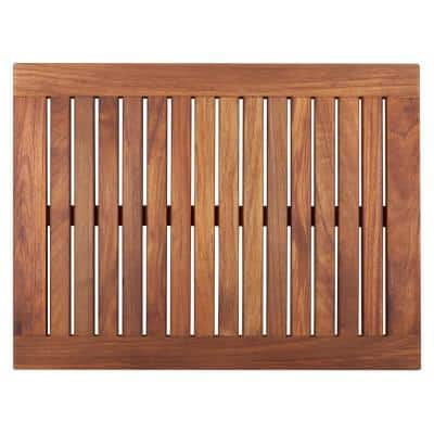 Oiled Brown Teak Indoor and Outdoor Shower/Bath Mat with Frame 23.6 in. x 17.7 in.