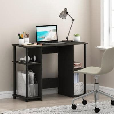 39 in. Rectangular Espresso Computer Desk with Open Storage
