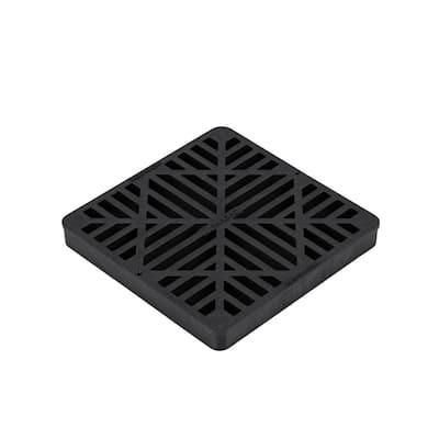 9 in. Plastic Square Drainage Catch Basin Grate in Black
