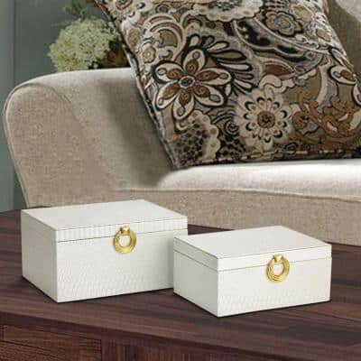 White Wooden Jewelry Boxes Covered in Textured Faux Leather and Metal Handle (Set of 2)
