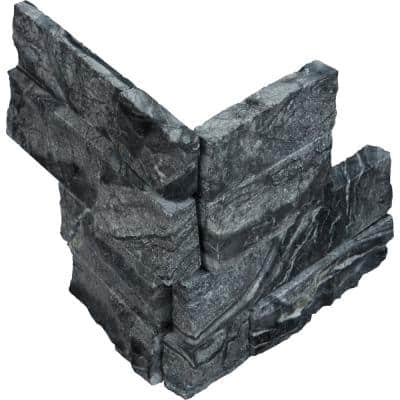 Glacial Black Ledger Corner 6 in. x 6 in. x 6 in. Natural Marble Wall Tile (2.5 sq. ft. /Case)
