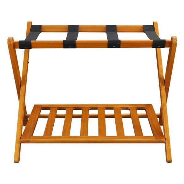 Casual Home 26 75 In W X 16 In D Honey Oak Solid Wood Luggage Rack With Shelf 102 28 The Home Depot