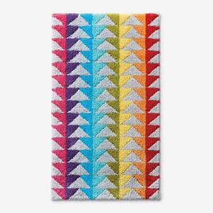 Company Cotton Triangles Multicolored 24 in. x 40 in. Geometric Cotton Bath Rug