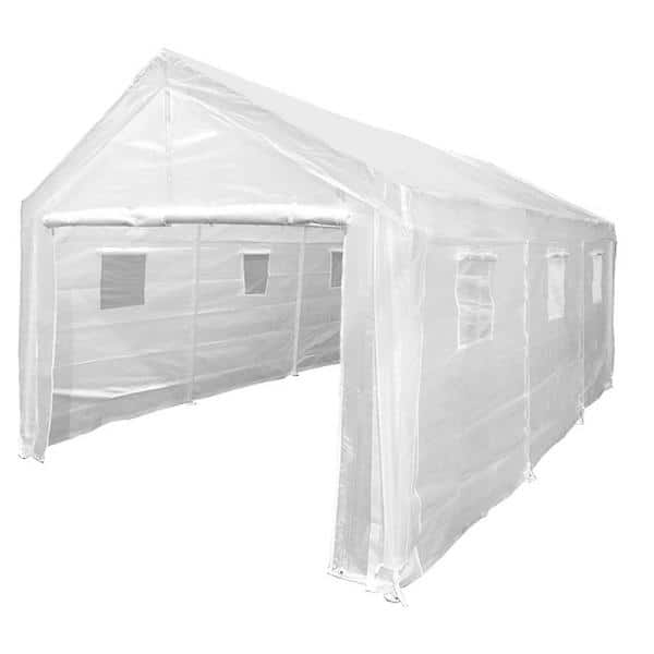 King Canopy Universal Enclosed 10 Ft X 20 Ft X 10 Ft Greenhouse Roof Steel Carport C8gh1020 The Home Depot