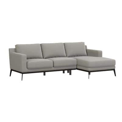 Trinette Modern 2-Piece Taupe Woven Linen Fabric 3-Seat L-Shaped Right Facing Sectional Sofa with Chaise