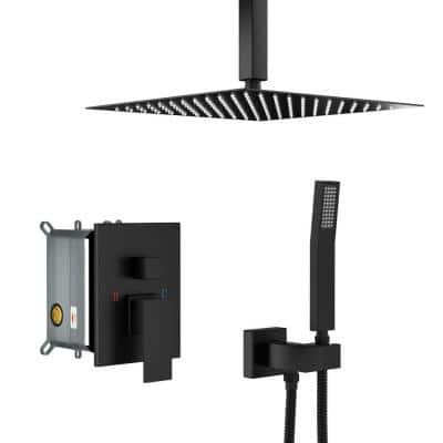 Norwood Waterfall Single-Handle 1-Spray High Pressure Shower Faucet in Matte Black with Tub Spout (Valve Included)