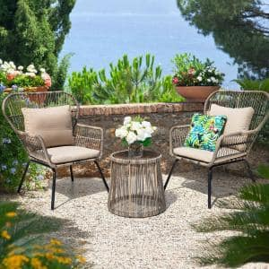 Deals on 3-Piece Wicker Patio Conversation Set with Beige Cushions
