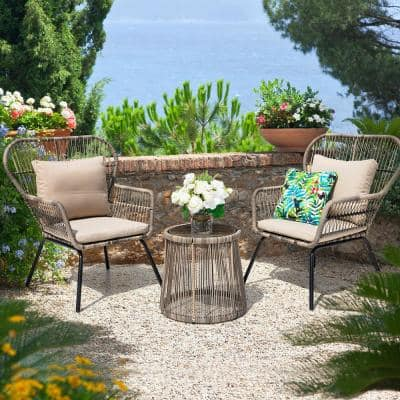 3-Piece Wicker Patio Conversation Set with Beige Cushions